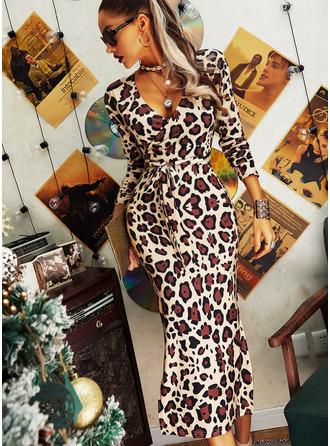 leopardi Ihonmyötäinen mekko Pitkät hihat Midi Tyylikäs Kynä Muodikkaat mekot