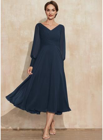 A-Linien-Kleid V-Ausschnitt Lange Ärmel Midi Jahrgang Elegant Modekleider