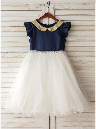 A-Line/Princess Knee-length Flower Girl Dress - Taffeta/Tulle Short Sleeves Peter Pan Collar With Sequins