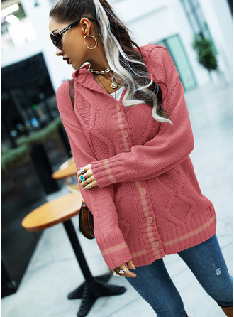 Hooded Casual Long Solid Chunky knit Pocket Sweaters