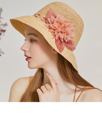 Damene ' Utsøkt/Hotteste Organza/Raffia Strå med Silke blomst Strand / Sol Hatter/Tea Party Hats