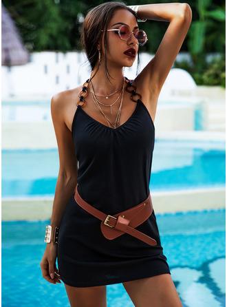 Solid Sheath Sleeveless Mini Casual Sexy Vacation Dresses