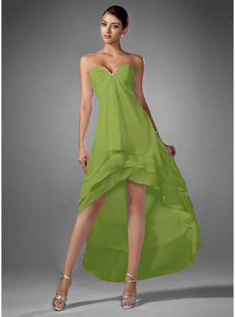 A-Line Sweetheart Asymmetrical Chiffon Homecoming Dress With Ruffle Beading