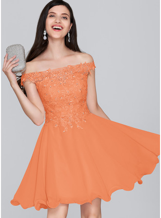 A-Line Off-the-Shoulder Short/Mini Chiffon Homecoming Dress With Beading Sequins
