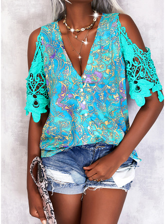 Print Cold Shoulder 1/2 Sleeves Casual
