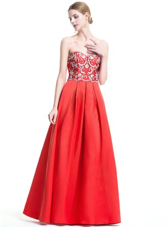 A-Line/Princess Sweetheart Floor-Length Satin Evening Dress With Beading Sequins