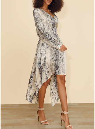 Print A-line Long Sleeves Asymmetrical Casual Skater Dresses