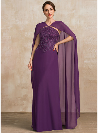 Corte A Escote en V Hasta el suelo Gasa Encaje Vestido de madrina con Lentejuelas