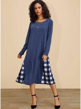 グリッド シフトドレス 長袖 ミディ カジュアル チュニック ファッションドレス
