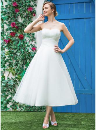 Forme Princesse Amoureux Longueur mollet Tulle Robe de mariée avec Plissé
