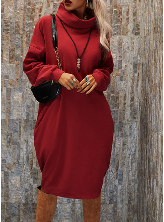 Solid Shift Long Sleeves Midi Casual Dresses