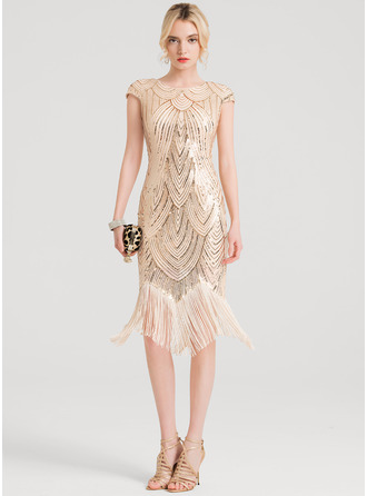Sheath/Column Scoop Neck Knee-Length Sequined Cocktail Dress