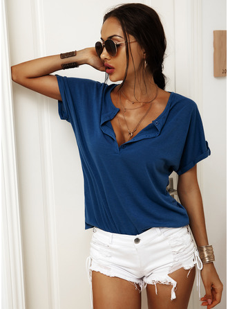Solid Short Sleeves Cotton Blends V Neck Blouses Blouses