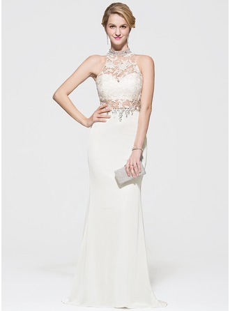 Trumpet/Mermaid Scoop Neck Sweep Train Lace Jersey Prom Dress With Beading Sequins