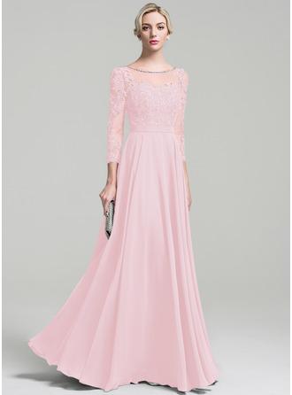 A-Linie U-Ausschnitt Bodenlang Chiffon Kleid für die Brautmutter mit Perlstickerei Pailletten