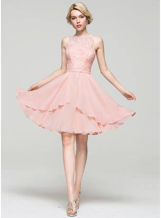 A-Line/Princess Scoop Neck Knee-Length Chiffon Cocktail Dress With Cascading Ruffles