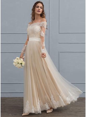 Corte A/Princesa Fuera del hombro Hasta el suelo Tul Encaje Vestido de novia