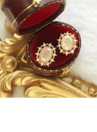 Senhoras Elegante Banhado a ouro/Bronze com Rodada Cristal Brincos Amigos/Noiva