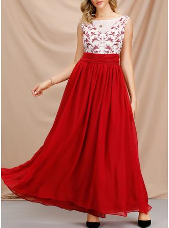 Einfarbig A-Linien-Kleid Ärmellos Maxi Party Modekleider