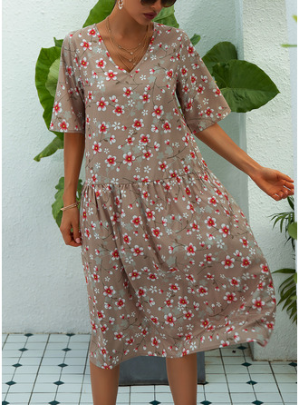Midi V neck Polyester Print Short Sleeves Fashion Dresses