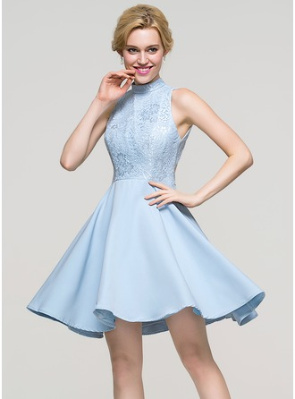 A-Line/Princess High Neck Short/Mini Satin Cocktail Dress