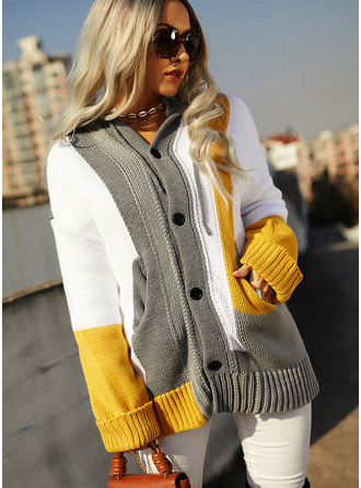 Hooded Casual Long Color Block Chunky knit Pocket Sweaters