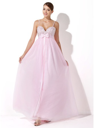 Empire Sweetheart Floor-Length Tulle Evening Dress With Beading Sequins Bow(s)