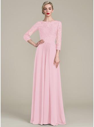 A-Linie/Princess-Linie U-Ausschnitt Bodenlang Chiffon Spitze Kleid für die Brautmutter mit Rüschen Perlstickerei Pailletten