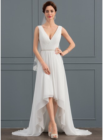 A-Line/Princess V-neck Asymmetrical Chiffon Wedding Dress With Beading