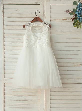 Knee-length Flower Girl Dress - Tulle/Lace Sleeveless Scoop Neck With Lace