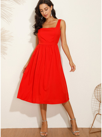 Midi Strap Polyester Solid Sleeveless Fashion Dresses