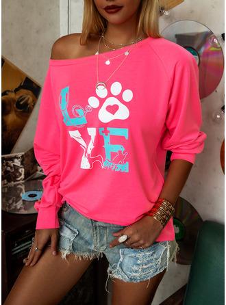 Animal Print One Shoulder Long Sleeves Casual T-shirt