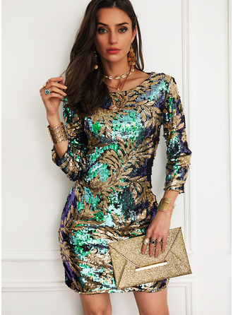 Floral Sequins Sheath 3/4 Sleeves Mini Party Elegant Dresses