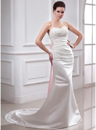 Trumpet/Mermaid Sweetheart Chapel Train Satin Wedding Dress With Ruffle Lace Sash Beading Bow(s)