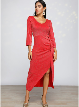 Sequins Sheath Long Sleeves Midi Casual Dresses