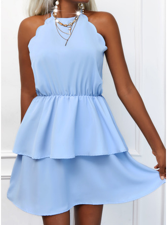 Solid A-line Sleeveless Mini Casual Skater Dresses