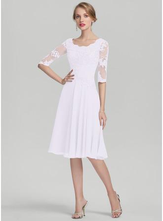 Corte A Decote redondo Coquetel Tecido de seda Vestido para a mãe da noiva com Pregueado Apliques de Renda