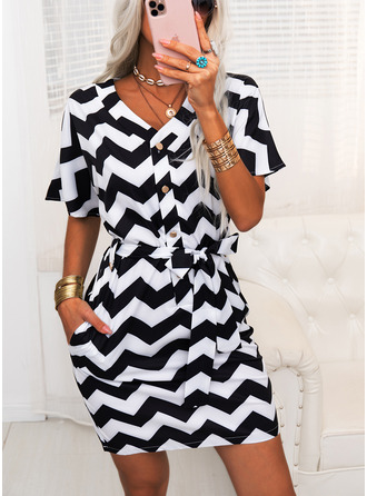 Striped Sheath Short Sleeves Midi Casual Dresses