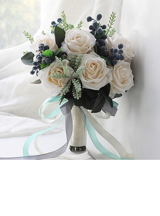 Lovely Round Satin Bridal Bouquets/Bridesmaid Bouquets (Sold in a single piece) -