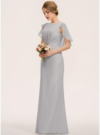 Трапеция Круглый Длина до пола шифон Платье Подружки Невесты с Ниспадающие оборки