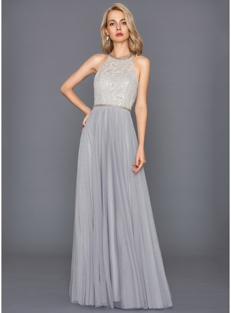A-Line/Princess Halter Floor-Length Tulle Evening Dress