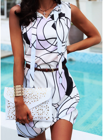 Print A-line Sleeveless Midi Casual Vacation Skater Dresses