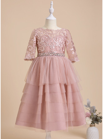 A-Line Scoop Neck Tea-length With Beading/Sequins Tulle/Lace Flower Girl Dress