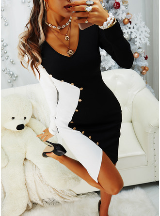 Color Block Bodycon Long Sleeves Midi Party Dresses