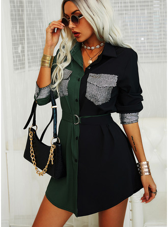 Color Block Sequins Sheath Long Sleeves Mini Casual Shirt Dresses