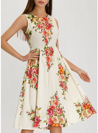 Blommig Print A-linjeklänning Ärmlös Midi tappning utformar Elegant skater Modeklänningar