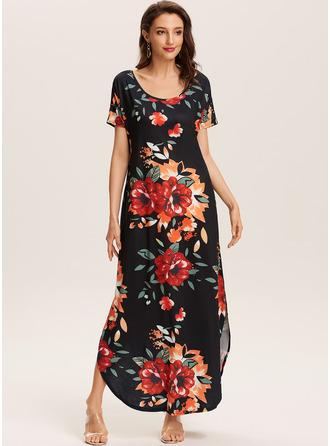 Floral Print Shift Short Sleeves Maxi Boho Casual Vacation Dresses