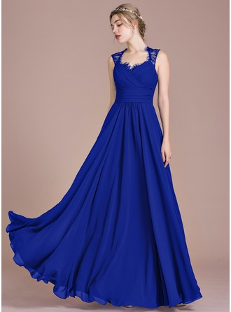 A-Line/Princess Floor-Length Chiffon Lace Evening Dress With Ruffle Bow(s)