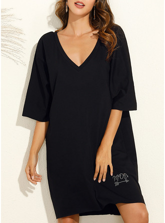 Solid Shift 3/4 Sleeves Midi Little Black Casual Tunic Dresses