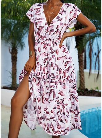 Print A-line Cap Sleeve Midi Casual Vacation Skater Dresses